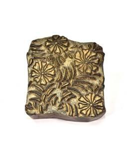 Antik drevená raznice na tlač prehozov s motívom floral, block print, 18x16cm