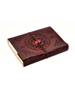 Notes v koženej väzbe s ozdobným kameňom, ručný papier, 16x21cm