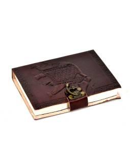 Notes v koženej väzbe s kovovým zámkom, ručný papier, 12x15cm