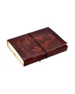Notes v koženej väzbe s Budhom, ručný papier, 13x18cm