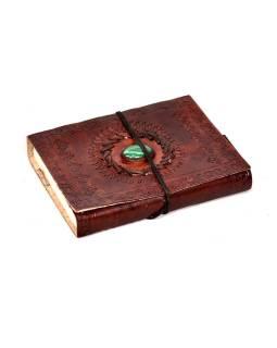 Notes v koženej väzbe s ozdobným kameňom, ručný papier, 12x15cm