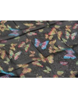 Hodvábna šatka s motívom motýľov, čierny, 170x105cm