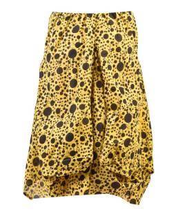 Balónová sukňa s potlačou bodiek, žltá
