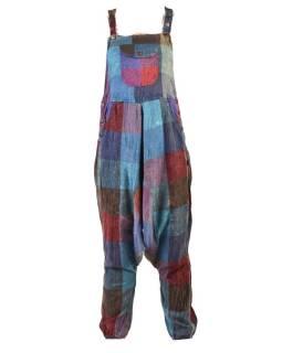 Turecké nohavice s trakmi, rozopínanie na gombíky, vrecká, patchwork dizajn