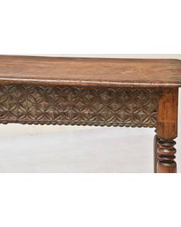 Konzolový stolík z teakového dreva, ručné rezby, 120x42x73cm