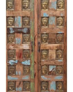 Skriňa z teakového dreva, zdobená mosadznými Budhu, 80x40x150cm