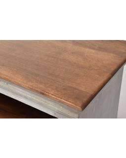 Skriňa z mangového dreva, ručné rezby, šedá patina, 100x43x112cm