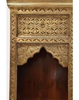 Knižnica z palisandrového dreva, zdobená mosadzou, 55x30x180cm