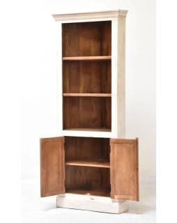 Rohová knižnica z mangového dreva, ručné rezby, 76x44x185cm