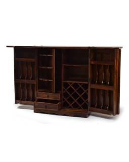 Barový pult, rozkladacia, mosadzné kovania, palisander, 180 / 90x50x112cm