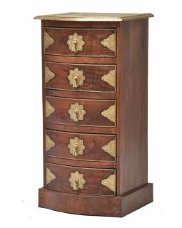 Komoda z palisandrového dreva s mosadzným kovaním a šuplíky, 45x40x90cm
