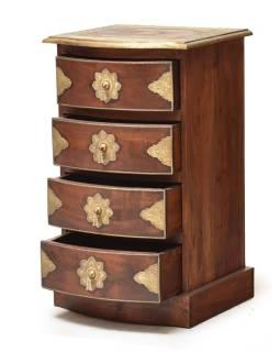Komoda z palisandrového dreva s mosadzným kovaním a šuplíky, 45x40x75cm