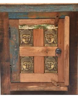 Nočný stolík z antik teakového dreva zdobený reliéfom Budhov, 50x45x60cm