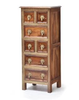 Šuplíková komoda z palisndrového dreva zdobená mosadzou, 45x38x110cm