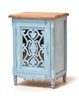 Nočný stolík z mangového dreva, ručné rezby, sklo, 50x39x72cm