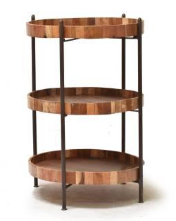 Okrúhly regál z teakového dreva, 60x60x92cm