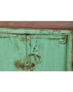 Skrinka z teakového dreva, zelená patina, 60x24x58cm