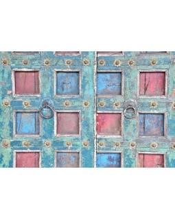 Antik dvere s rámom z Gujarati, teakové drevo, maľované, 150x24x218cm