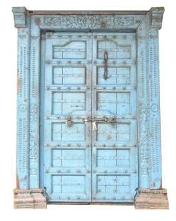 Antik dvere s rámom z Gujarati, teakové drevo, maľované, 155x28x220cm