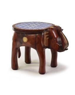 Stolička v tvare slona zdobená keramickými dlaždicami, 50x35x38cm