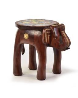 Stolička v tvare slona zdobená keramickými dlaždicami, 50x35x45cm