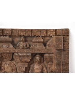 Vyrezávaný panel 5 Budhov, antik, 228x8x68cm
