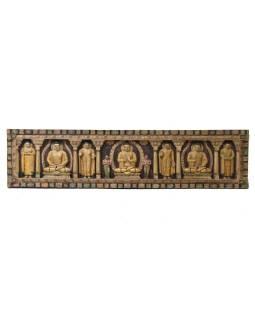 Vyrezávaný panel 5 Budhov, maľovaný antik, 212x7x52cm