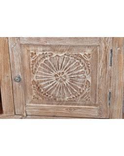 Komoda pod TV z teakového dreva ručne vyrezávaná, biela patina, 181x46x60cm