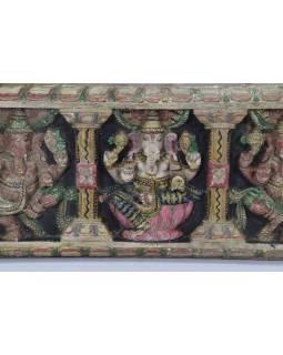 Vyrezávaný panel Ganesh, maľovaný, 92x30x5cm