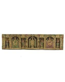 Vyrezávaný panel Laxmi, maľovaný, 104x26x5cm
