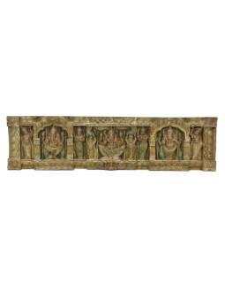 Vyrezávaný panel Ganesh, maľovaný, 123x32x5cm