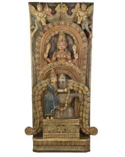 Vyrezávaný antik panel Shiva a Parvati, 66x14x133cm