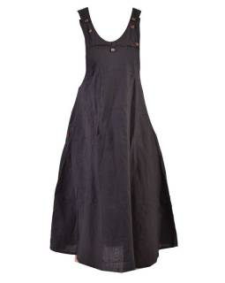 Dlhá čierna sukňa na traky, zapínanie na gombík, vrecká