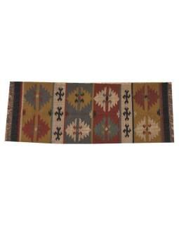 Koberec, ručne tkaný, vlna, juta, 74x193cm