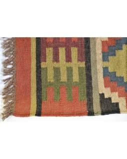 Koberec, ručne tkaný, vlna, juta, 75x197cm