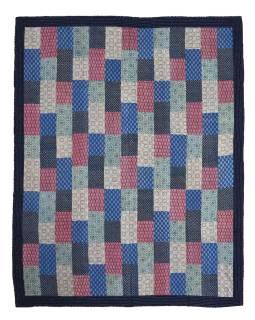Posteľná prikrývka, patchwork, block print, ručné práce, prešívanie, 216x276cm