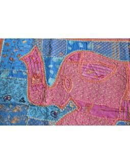 Unikátny patchworková tapisérie z Rajastan, ručné práce, 103x156cm
