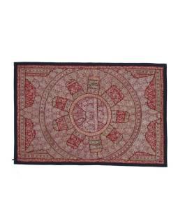 Unikátny tapisérie z Rajastan, vínová, ručné zlaté vyšívanie, 108x157cm