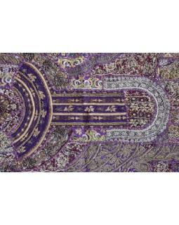 Unikátny tapisérie z Rajastan, fialová, ručné zlaté vyšívanie, 108x157cm