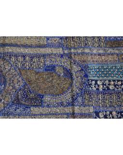 Unikátny tapisérie z Rajastan, tmavo modrá, ručné zlaté vyšívanie, 67x129cm