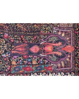 Unikátny tapisérie z Rajastan, čierna, ručné vyšívanie, 67x129cm