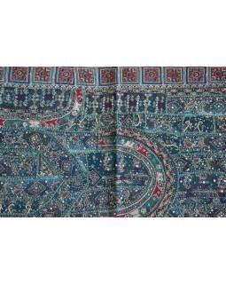 Unikátny tapisérie z Rajastan, smaragdovo zelená, ručné vyšívanie, 67x129cm