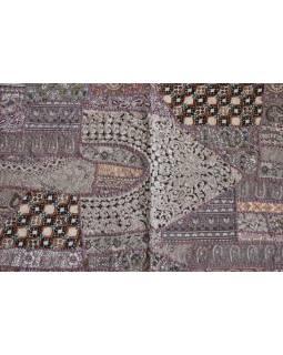 Unikátny tapisérie z Rajastan, svetlo hnedá, ručné vyšívanie, 67x129cm