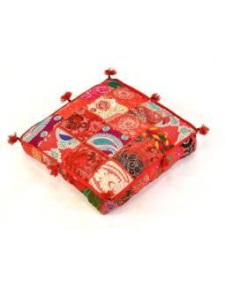 Meditačné vankúš, ručne vyšívaný patchwork, štvorec, 42x42x10cm