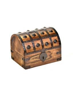 Drevená truhlička z mangového dreva zdobená kovaním, 20x16x15cm