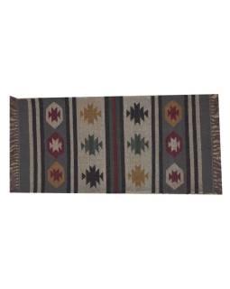 Koberec behúň, ručne tkaný, vlna, juta, 61x133cm