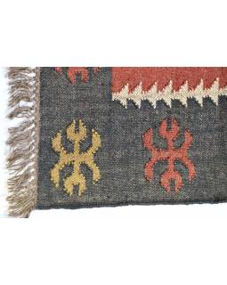 Koberec, ručne tkaný, vlna, juta, 125x197cm