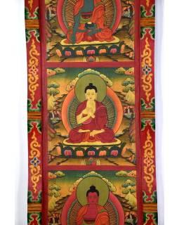 Drevený panel, Päť Dhjána Budhov, ručne maľované, 161x37x4cm