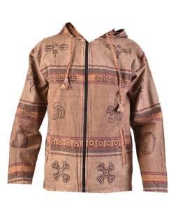 Pánska bunda s kapucňou zapínaná na zips, svetlo hnedá, potlač