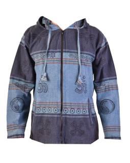 Pánska bunda s kapucňou zapínaná na zips, tmavo modrá, potlač
